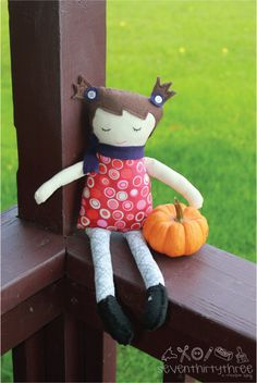BLACK APPLE DOLL. Uses Martha Stewart's pattern, with a variation to include pig tails, which I love. I also made the legs have knee-high socks rather than tights. See my other Black Apple Doll pin for a picture of the legs.