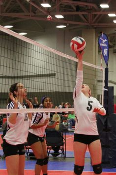 """#4 action shot... Our setter, Kyra , is a """"big tipper""""  and she cashes in on this one.  ;) #LSC2014 in #Dallas #Molten #youcouldwin"""