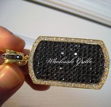 NEW $199 CUSTOM 14K GOLD GP ICED OUT SIMULATE BLACK DIAMOND DOG TAG CHARM PENDANT Buy now from ebay seller: wholesale_grillz wholesale grillz