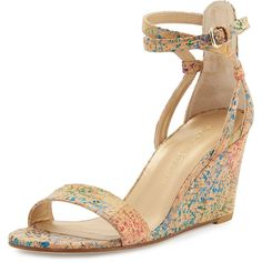 Stuart Weitzman Backdraft Cork Wedge Sandal ($485) ❤ liked on Polyvore featuring shoes, sandals, wedges, heels, confetti, heeled sandals, wedge heel shoes, strap heel sandals, ankle wrap sandals and ankle strap shoes