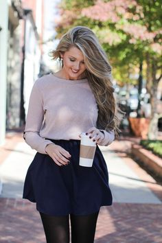 Perfect navy pleated skirt for the fall! Little Miss Navy Skirt Shop Dress Up, Navy Pleated Skirt, Better Weather, Little Miss, Dress Skirt, Mini Skirts, My Style, Fall, Sweaters