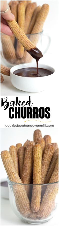 Baked Churros - These baked churros are just as good as any fried churro! It has a crunchy exterior that's been rolled in cinnamon and sugar and a tender inside. They're highly addicting and fun to dip! via @mmmirnanda