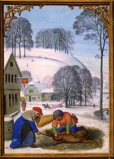 December - from Da Costa Hours,   Illuminated by Simon Bening (1483/84–1561)  Belgium, Bruges, ca. 1515