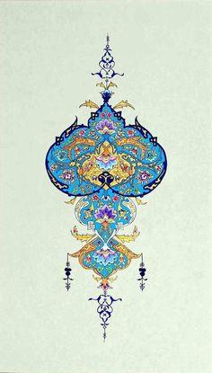 Tezhip: Art with a touch of gold, gilded, illuminated. Islamic Motifs, Islamic Art Pattern, Pattern Art, Pattern Design, Motif Oriental, Persian Pattern, Persian Motifs, Turkish Art, Arabic Art