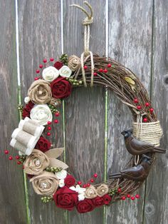 Christmas Wreath, Winter Wreath, Holiday Wreath, Grapevine Wreath, Floral, Country Christmas. $52.00, via Etsy.