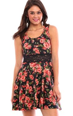 Floral Print Skater Dress with Lace Illusion Waist