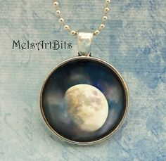 Gibbous Waxing Moon Magical Fine Art Photo Pendant by MelsArtBits