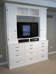 tv stand dresser and display shelves combination creates elegant built in style efficiency and. Black Bedroom Furniture Sets. Home Design Ideas