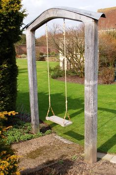 Who doesn't love a swing in the backyard. I wish this single swing in an archway would magically appear in my backyard. Patio Pergola, Backyard Swings, Backyard Ideas, Pergola Kits, Garden Swings, Landscaping Ideas, Porch Swings, Backyard Games, Dream Garden