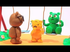 Gummy Bear Baby on the Toboggan ❤️ Gummy Bear Play Doh Cartoon Stop Motion - YouTube