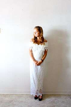 Vintage Wedding dress gaudy boho all lace form by ThisVintageGirl, $125.00