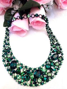 I AM ECSTATIC! THIS IS A ONCE IN A LIFETIME OPPORTUNITY TO ADD A FABULOUS PIECE OF SCHREINER HISTORY TO YOUR COLLECTION! A bevy of breathtaking rhinestones in multiple shades of green embellish the center of the collar in a spectacular sea of gorgeous green.   eBay!