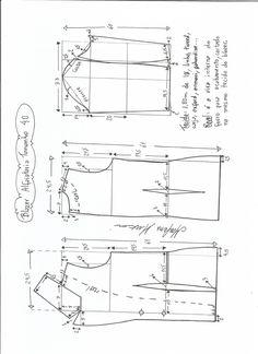 Esquema de modelagem de blazer alfaiataria gola de bico tamanho 40.