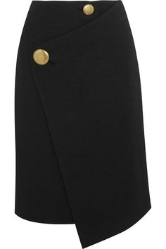 Black wool Buttons and concealed snap fastenings at front 100% wool; lining: 72% acetate, 28% silk Dry clean