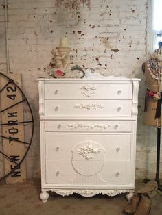 A beautiful shabby chic French dresser for your cottage boudoir!    FEATURES: Sturdy solid wood construction with romantic French Louis XV