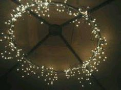 Hola hoop ring with fairy lights wrapped around, nice for marque lighting.