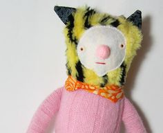 Tiger Doll in Pink Sweater by Yermit on Etsy
