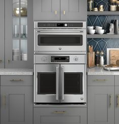 Kitchen Remodel Discover Cafe 30 in. Single Electric Convection Wall Oven with Built-In Microwave in Stainless - The Home Depot Kitchen Oven, New Kitchen, Kitchen Decor, Kitchen Cabinets, Kitchen Ideas, Inside Cabinets, Double Oven Kitchen, Kitchen Inspiration, Kitchen Designs