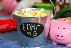 Silver Pails, chalkboard stickers, write kids' names on pails as favors Farm Birthday, 6th Birthday Parties, School Parties, Birthday Ideas, Charlotte's Web Book, Charlottes Web, Farm Party, Food Themes, First Birthdays