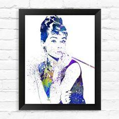 Dignovel Studios Audrey Hepburn Watercolor Framed Graphic Art Size: 1