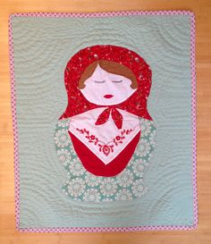 6ffea023cabf6 Nesting Doll Baby Quilt Tomato & Mint by EastToNest on Etsy, $145.00 Doll  Quilt,