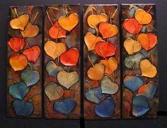 Leaf Series 4-7, colorful 3D leaves, © Carol Nelson Fine Art -- Carol Nelson