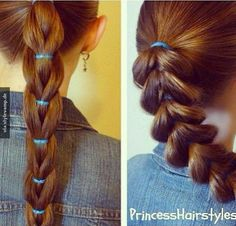 "Reverse Pull-Through Braid, Ponytail Hairstyle Quick and easy ponytail hairstyle. The ""reverse pull through braid.\"" # pull through Braids ponytail Reverse Pull-Through Braid, Ponytail Hairstyle Braided Ponytail, Ponytail Hairstyles, Pretty Hairstyles, Girl Hairstyles, Princess Hairstyles, Hairstyle Braid, Latest Hairstyles, School Hairstyles, Updos"