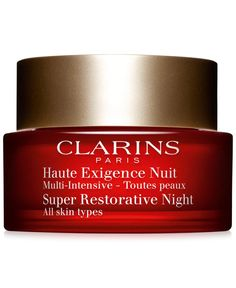 Clarins' new Super Restorative Night Cream works all night long to fight visible signs of aging caused by natural hormonal changes: loss of density, skin slackening, deep wrinkles and age spots. This
