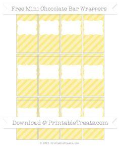Pastel Yellow Diagonal Striped DIY Mini Chocolate Bar Wrappers