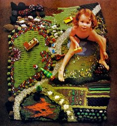 Knitted Play Mat For a Child Circa 1978