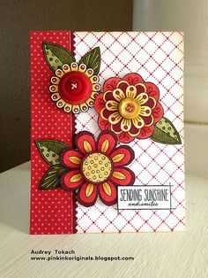 handmade card from Pink Ink Originals ... beautiful stamped and die cut fantasy flowers ... luv the right reds with coordinating saturated colors ... awesome card! ... PaperTrey Ink