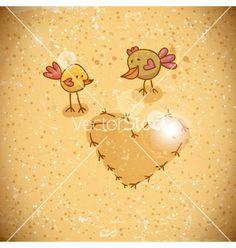 Cartoon birds with heart vector - by Depiano on VectorStock®