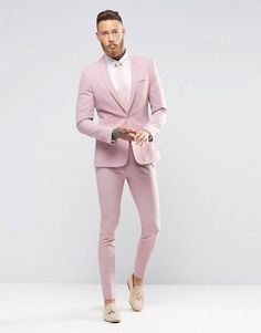 Buy ASOS Super Skinny Fit Suit In Pink at ASOS. Get the latest trends with ASOS now. Prom Suits For Men, Mens Casual Suits, Mens Fashion Suits, Fashion Wear, Fashion Boots, Womens Fashion, Pink Prom Suit, Pink Suit Men, Pink Blazer Men