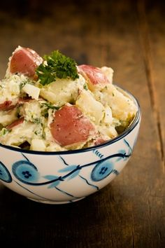The Lady's Warm Potato Salad...this is really similar to the recipe that I grew up with.  We always ate our potato salad warm...sooo good....could also add some bacon crumbled if desired.