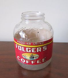 Vintage 40s Folgers Coffee Jar with Label Farmhouse by barbsbin