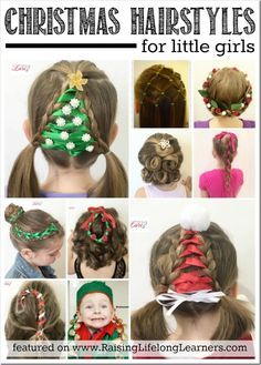 Even the most novie hairstylist can tackle these 20 easy Christmas hairstyles for little girls. which is your favorite? I love the Christmas tree. Girl Hair Dos, Baby Girl Hair, Hair Girls, Easy Little Girl Hairstyles, Cute Hairstyles, Hairstyles 2016, Braid Hairstyles, Step Hairstyle, Ladies Hairstyles