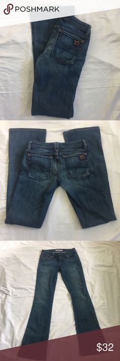 Joe's Honey Jeans Size 26 X 32 Joe's boot cut Honey jeans. Wash Harvey (dark blue). Excellent condition.  Size 26 Inseam approximately 32 inches  Crotch to button approximately 8 inches  Please see pictures for all measurements  98% cotton/2% lycra Joe's Jeans Jeans Boot Cut