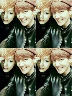 *edited* Baekhyun and his son V. Now we need Daehyun. Lol eyeliner family!!! #EXO #BTS