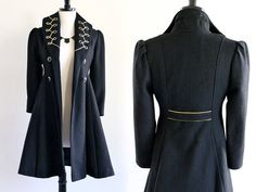 60s Black Wool Military Mod Pin Up Embroidered by LuvStonedVintage