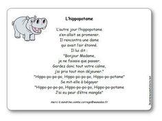 Comptine L'hippopotame illustrée à imprimer