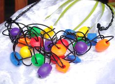 Tangled Christmas lights, large colourful rainbow beads twisted wire necklace, black plated leather strap OOAK Free postage made in Cairns $48.95 Wire Necklace, Cairns, I Love Jewelry, Tangled, Christmas Lights, Rainbow, Jewellery, Beads, The Originals