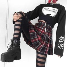 Cute Emo Outfits, Edgy Outfits, Retro Outfits, Grunge Outfits, Aesthetic Grunge Outfit, Aesthetic Clothes, Aesthetic Fashion, Egirl Fashion, Fashion Outfits