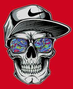 Nike Action Sports Appare l Graffiti Drawing, Graffiti Art, Art Drawings, Nike Wallpaper, Skull Wallpaper, Skull Tattoo Design, Skull Tattoos, Art Tattoos, Skull Art