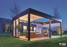 Ted's Woodworking Plans - Pergola ouverte toit store tendu Get A Lifetime Of Project Ideas & Inspiration! Step By Step Woodworking Plans Modern Pergola, Outdoor Pergola, Diy Pergola, Outdoor Rooms, Backyard Patio, Outdoor Living, Outdoor Decor, Pergola Lighting, Small Pergola