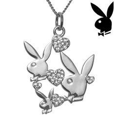 Playboy Necklace Hearts Triple Bunny Pendant Swarovski Crystals Charm RARE HTF #Playboy #Pendant