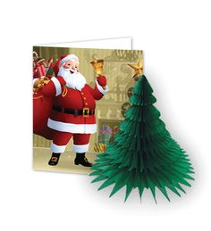 christmas card with honeycomb tissue paper tree Christmas Cards, Christmas Decorations, Holiday Decor, Tissue Paper Trees, Honeycomb Decorations, Honeycomb Paper, Elf On The Shelf, Card Making, Wraps