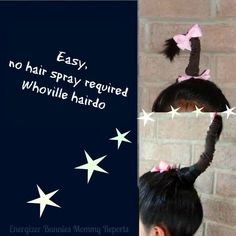 Easy, no hair spray required, Whoville hairdo - Energizer Bunnies' Mommy Reports - Dr Seuss Day