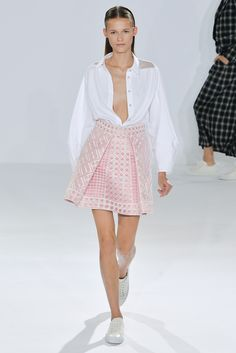 Spring 2015 Ready-to-Wear - Temperley London   White full sleeved shirt over pink white brocade mini skirt