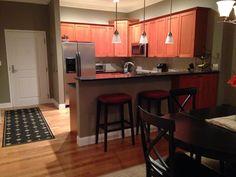 Kitchen, Bar Stools, Pier Paint: Benjamin Moore, Ashley Gray, rugs from Ballard Design. Ashley Gray, Ballard Designs, Decorating Small Spaces, Big Houses, Benjamin Moore, Bar Stools, Condo, Paint, Rugs