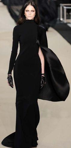 Edgy black dress. Asymmetrical. Cape. Gloves.